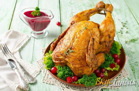 Курица приготовленная на бутылке