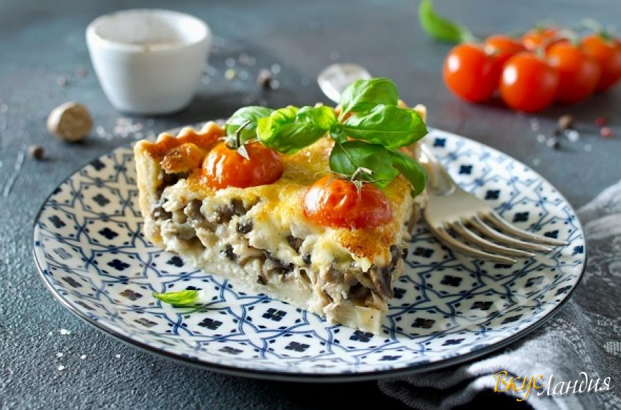 рецепт пирога киш лорен с курицей и грибами